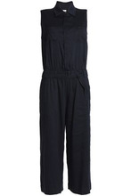 Vince | Vince. Woman Belted Linen-blend Jumpsuit Navy Size 8 | Clouty