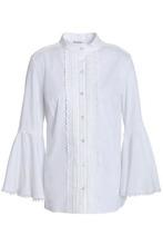 Oscar De La Renta   Oscar De La Renta Woman Pintucked Cotton-blend Poplin Shirt White Size 6   Clouty