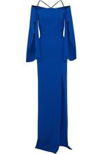 Roland Mouret   Roland Mouret Woman Cheveley Cold-shoulder Crepe Gown Royal Blue Size 8   Clouty