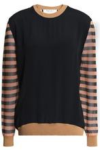 Marni | Marni Woman Striped Gauze-paneled French Terry Sweatshirt Black Size 44 | Clouty