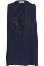 Michael Michael Kors | Michael Michael Kors Woman Lace-trimmed Ruffled Crepe Top Navy Size S | Clouty