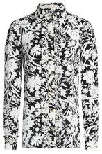 Michael Michael Kors | Michael Michael Kors Woman Ruffled Printed Silk Crepe De Chine Shirt Black Size 10 | Clouty