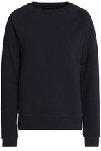 Vanessa Seward | Vanessa Seward Woman Embellished Cotton-blend Terry Sweatshirt Navy Size 36 | Clouty