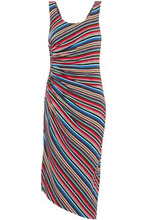 Bailey 44   Bailey 44 Woman Aruba Ruched Striped Stretch-jersey Dress Tomato Red Size XS   Clouty
