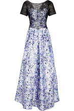 Mikael Aghal | Mikael Aghal Woman Embellished Lace-paneled Floral-print Satin-twill Gown Lilac Size 4 | Clouty