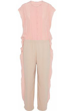 Agnona | Agnona Woman Ruffle-trimmed Two-tone Silk-chiffon And Crepe Jumpsuit Blush Size 42 | Clouty
