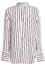 Equipment | Equipment Woman Janelle Striped Washed-silk Blouse White Size S | Clouty