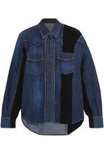 Sacai | Sacai Woman Waffle Knit-paneled Denim Shirt Dark Denim Size 2 | Clouty