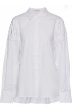 TIBI | Tibi Woman Satin-trimmed Shirred Cotton-poplin Shirt White Size 2 | Clouty