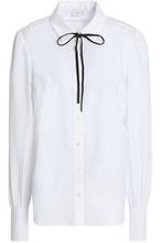 Joie   Joie Woman Bow-detailed Cotton-poplin Shirt White Size M   Clouty