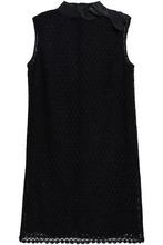 VALENTINO RED | Redvalentino Woman Cotton-blend Macrame Turtleneck Mini Dress Black Size 40 | Clouty