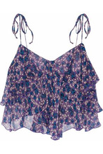 Anna Sui | Anna Sui Woman Cropped Ruffled Floral-print Silk-georgette Top Purple Size S | Clouty