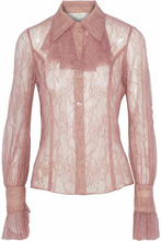 Anna Sui | Anna Sui Woman Ruffle-trimmed Chantilly Lace Shirt Antique Rose Size 6 | Clouty