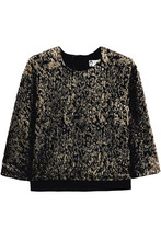 LANVIN   Lanvin Woman Open-back Satin-trimmed Metallic Knitted Top Black Size 36   Clouty