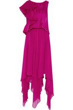 Badgley Mischka   Badgley Mischka Woman Layered Ruffled Satin And Silk-chiffon Gown Fuchsia Size 0   Clouty