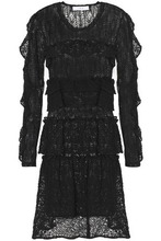IRO | Iro Woman Ruffled Cotton-blend Lace Mini Dress Black Size 34 | Clouty