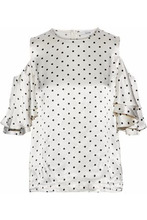 Ganni | Ganni Woman Leclair Cold-shoulder Polka-dot Satin Blouse Ivory Size 34 | Clouty