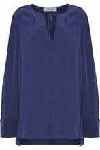 Diane Von Furstenberg | Diane Von Furstenberg Woman Silk Blouse Royal Blue Size 10 | Clouty