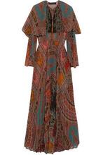 Etro | Etro Woman Cape-effect Pleated Printed Georgette Maxi Dress Multicolor Size 44 | Clouty