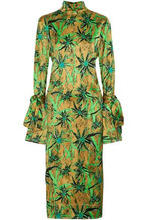 Marni | Marni Woman Tie-back Printed Satin Midi Dress Lime Green Size 42 | Clouty