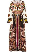 Etro | Etro Woman Lace-trimmed Printed Jacquard Wrap Dress Multicolor Size 42 | Clouty