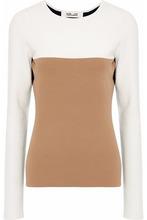 Diane Von Furstenberg | Diane Von Furstenberg Woman Color-block Stretch-knit Top Camel Size M | Clouty
