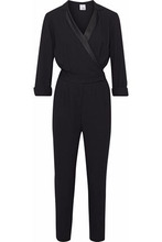 Iris & Ink | Iris & Ink Woman Liberty Wrap-effect Satin-trimmed Crepe Jumpsuit Black Size 6 | Clouty