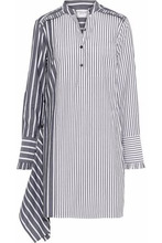 Derek Lam 10 Crosby | Derek Lam 10 Crosby Woman Asymmetric Striped Cotton-poplin Mini Shirt Dress Anthracite Size S | Clouty
