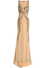 Roberto Cavalli | Roberto Cavalli Woman Embellished Crepe Gown Beige Size 40 | Clouty