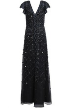 Temperley London   Temperley London Woman Embellished Organza Gown Black Size 12   Clouty