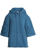 J.W. Anderson | J.w.anderson Woman Cotton-blend Fleece Hooded Sweatshirt Petrol Size M | Clouty