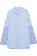 Maison Margiela | Maison Margiela Woman Paneled Striped Cotton-poplin Shirt Light Blue Size 42 | Clouty