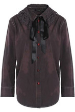 Marc Jacobs | Marc Jacobs Woman Pussy-bow Crochet-trimmed Cotton Shirt Dark Brown Size 10 | Clouty