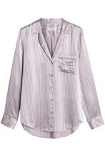 Equipment   Equipment Woman Pinstriped Silk-satin Shirt Lilac Size M   Clouty