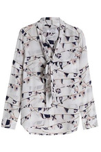 Equipment   Equipment Woman Brett Pussy-bow Printed Washed-silk Blouse Light Gray Size L   Clouty