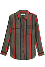 Equipment   Equipment Woman Striped Silk-twill Shirt Army Green Size S   Clouty