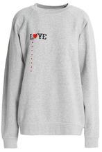 Ganni   Ganni Woman Paloma Love Embroidered Melange Cotton-jersey Sweatshirt Light Gray Size XL   Clouty