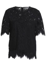 Ganni | Ganni Woman Scalloped Lace Top Black Size 34 | Clouty