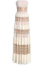 Alberta Ferretti | Alberta Ferretti Woman Tiered Metallic Embroidered Tulle And Silk-satin Gown Ivory Size 42 | Clouty