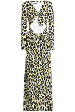 MOSCHINO   Moschino Woman Knotted Leopard-print Crepe Maxi Dress Animal Print Size 40   Clouty