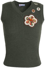 VALENTINO RED   Redvalentino Woman Appliqued Wool Ribbed-knit Top Army Green Size XS   Clouty