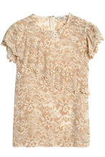 Ganni | Ganni Woman Ruffle-trimmed Lace Top Sand Size 42 | Clouty