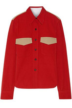 Calvin Klein | Calvin Klein 205w39nyc Woman Two-tone Wool-gabardine Shirt Red Size 44 | Clouty