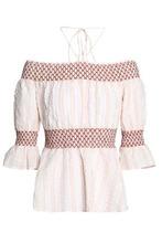 Ganni | Ganni Woman Charron Off-the-shoulder Checked Cotton-blend Poplin Top Pastel Pink Size 34 | Clouty