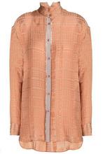 Etro | Etro Woman Grosgrain-trimmed Silk-blend Jacquard Shirt Antique Rose Size 44 | Clouty