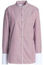 Victoria By Victoria Beckham | Victoria, Victoria Beckham Woman Striped Cotton-poplin Shirt Burgundy Size 12 | Clouty