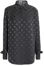NINA RICCI | Nina Ricci Woman Polka-dot Silk-jacquard Shirt Anthracite Size 34 | Clouty