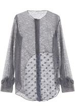 NINA RICCI | Nina Ricci Woman Ruffle-trimmed Embroidered Corded Lace Blouse Anthracite Size 36 | Clouty