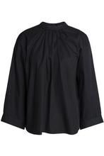 Maje | Maje Woman Cutout Gathered Cotton-poplin Top Black Size 3 | Clouty