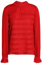 Maje | Maje Woman Guipure Lace And Crepe Top Red Size 2 | Clouty